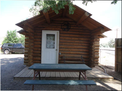 Bears Den Log Cabin at Eagle RV Park and Campground in Thermopolis Wyoming