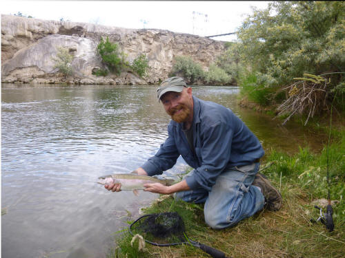 Trout fishing in the Big Horn River in Hot Springs State Park Thermopolis Wyoming. Photo courtesy of Jane Elliott.
